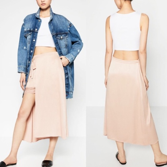 so cheap available bottom price Zara Satin Lace Trim Wrap Midi Skirt